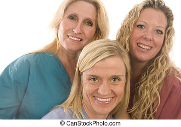 three nurses medical females with happy expression - group...