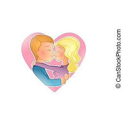 Couple young people kissing - Vector illustration of Couple...
