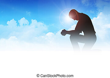 Prayer - Silhouette illustration of a man praying among the...