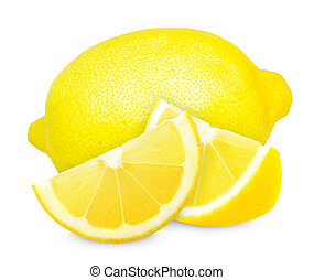 lemon and slices isolated on white