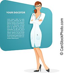 Doctor woman character image - Vector illustration of Doctor...