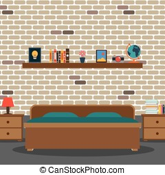 Vector of bedroom with brick wall