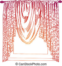 Drapery Background in red isolated on a white space.
