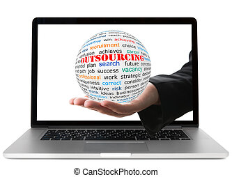 Concept of outsourcing - Transparent ball with inscription...
