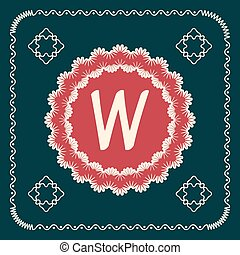 Vector square cards with letters of the alphabet W, and a background in retro style. For use in web, logo, greeting cards and more