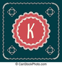 Vector square cards with letters of the alphabet K, and a...