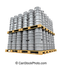 Pallet of Beer Kegs isolated on white background. 3D render