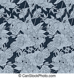 Seamless pattern with flowers, floral illustration in...