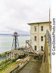 Alcatraz guard tower, San Francisco, California - The old...