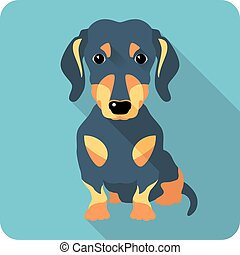 dog dachshund icon flat design - dog dachshund sitting icon...