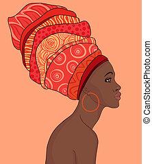 hermoso, retrato, mujer, turbante, africano