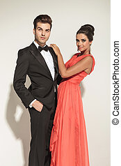 elegant couple posing - Attractive young elegant business...