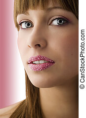 young girl with sugar lips