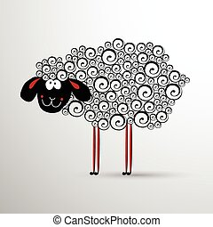 Abstract, sheep., Element, for, New, Year's, design.
