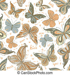 Amazing background with butterflies and flowers. seamless...