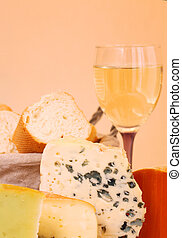 Cheese and wine - Cheese, wine and basket of bread...