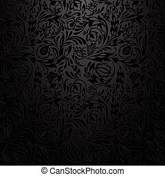 Black floral wallpaper pattern. - Black floral wallpaper...