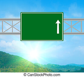Blank Green Road Sign concept with resplendent clouds and...