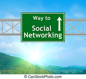 Social Networking Green Road Sign concept with resplendent...