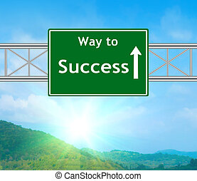 Success Green Road Sign concept with resplendent clouds and...