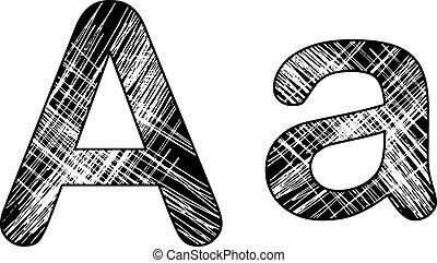 grunge scratch letter A alphabet symbol design