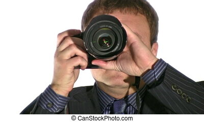 businesman with photo camera - Businesman with photo camera