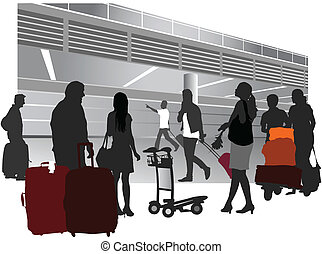 Traveling people inside airport terminal