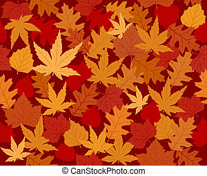 Vibrantly colored autumn leaves wallpaper - Seamless vector...