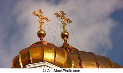 domes on church Moscow Russia - Domes on church Moscow...