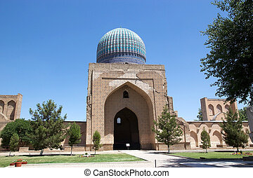 Samarkand - The cupola of the main chamber at the Bibi...