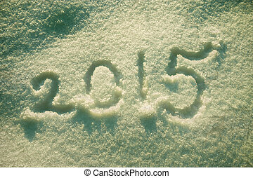 background,text 2015 on the snow. Retro toned - new year and...