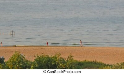 running people on morning beach - Running people on morning...