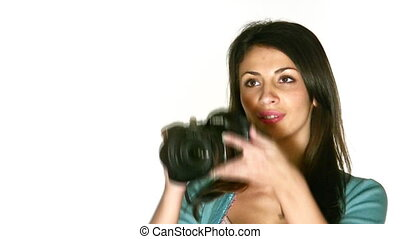 woman with photo camera - Woman with photo camera