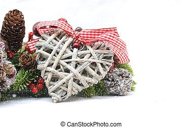 elegancia, andrajoso, decoraciones, navidad