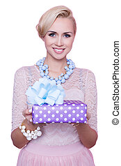 Women, gift, present - Blonde woman with beautiful smile...