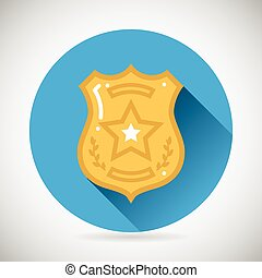 Police officer bage icon protection law order symbol on...