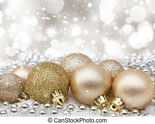 Christmas baubles - Christmas background with gold baubles