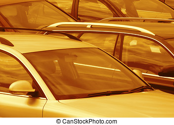 Parked cars toned brown