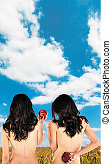 twins backs apples clouds skyes - Sexy twins with bare backs...