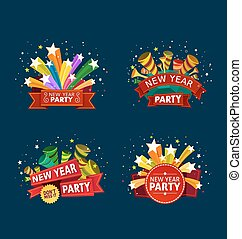 new year party event tittle - various colorful banner and...