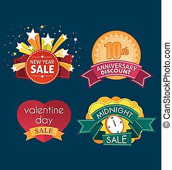 various sale event tittle - various colorful banner and...