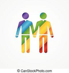 Sign of couple men. LGBT card - Sholuette couple men. LGBT...