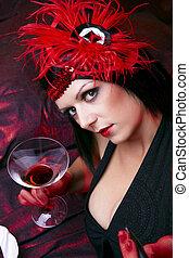 Chica descocada, dama, Coquetear, con, vidrio, de, Bebida