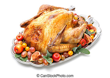 Roast turkey - Garnished roasted turkey on platter over...