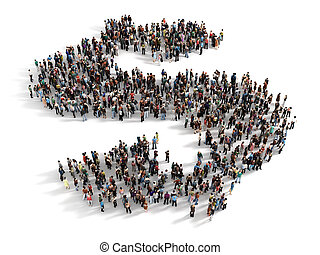 Large group of people forming the symbol of a dollar sign...