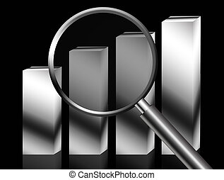 Loupe business chart over black background. Conceptual...