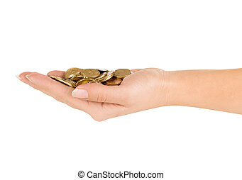 hand with coins on a white background