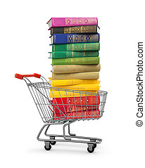 stack of colorful books in shopping card on an isolated...