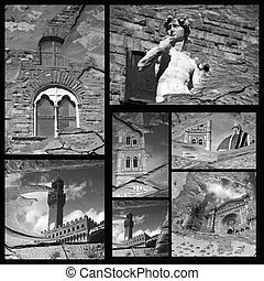 impressive Florence art patrimony collage,Tuscany, Italy,...