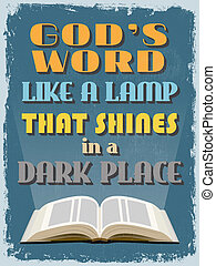 Retro Vintage Motivational Quote Poster Gods Word Like a...